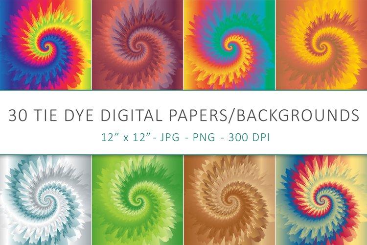 30 Tie Dye Digital Papers, Tie Dye Backgrounds
