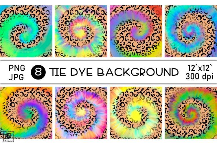 Tie Dye Sublimation Bundle Rainbow Leopard Digital Paper PNG