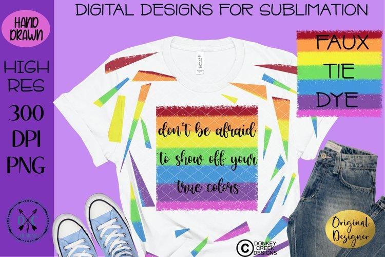 Faux Tie Dye Sublimation t shirt design Pride Rainbow PNG example image 1