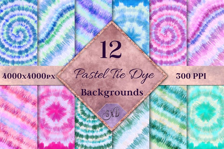 Pastel Tie Dye Backgrounds - 12 Image Textures