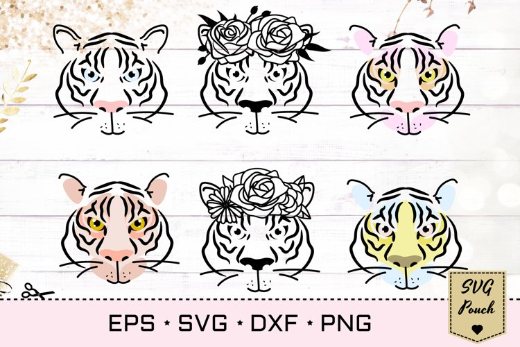 Tiger SVG silhouette outline with flower decorated crown example image 1