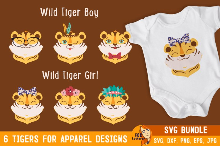 Tigers boy and girl bundle. Cartoon head animals svg, png