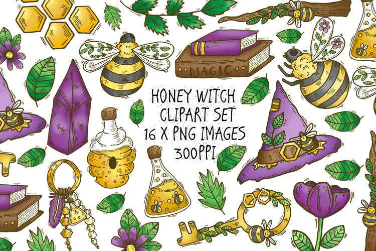 Honey Witch Clipart Set, 16 Witchy Vibes PNG Drawings
