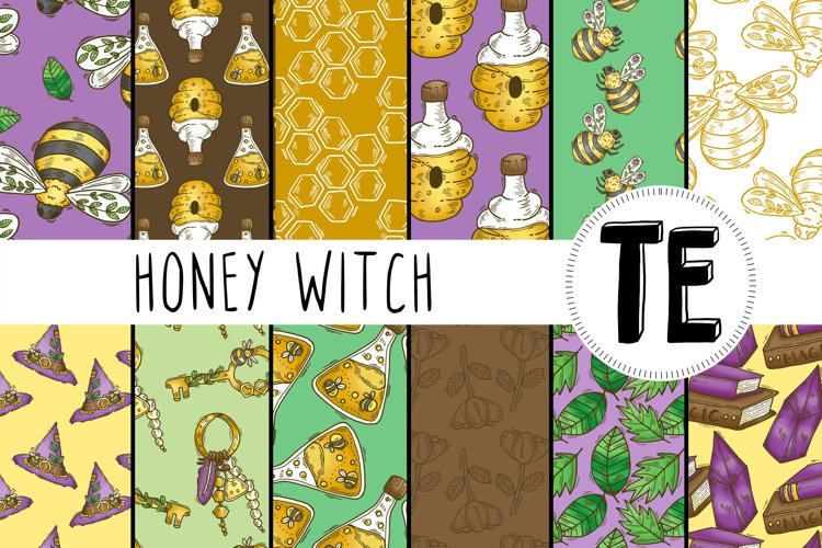 Honey Witch Seamless Patterns - 12 Witchy Digital Papers
