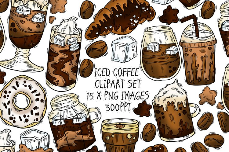 Iced Coffee Clipart Set, 15 PNG Illustrations