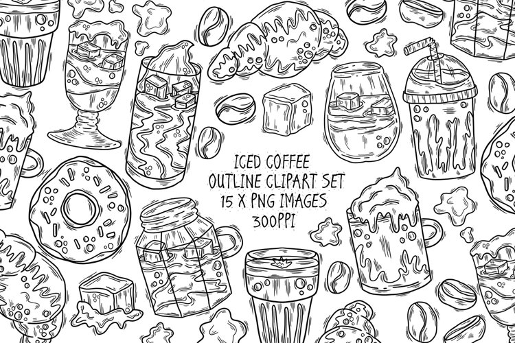 Iced Coffee Outline Clipart Set, 15 PNG Line Drawings