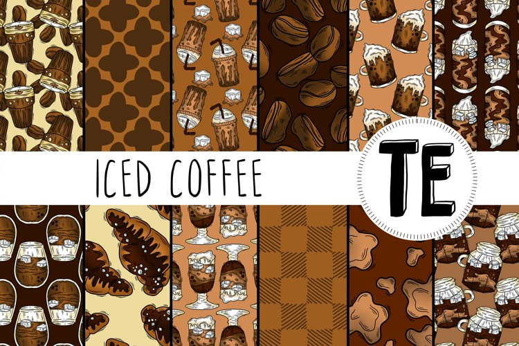 Iced Coffee Seamless Patterns - 12 Summer Digital Papers
