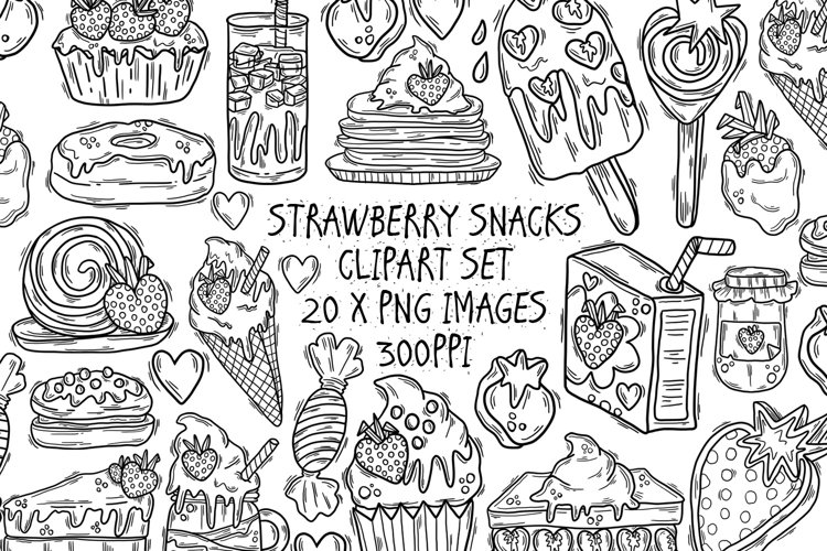 Strawberry Snacks Outline Clipart Set, 21 PNG Line Drawings