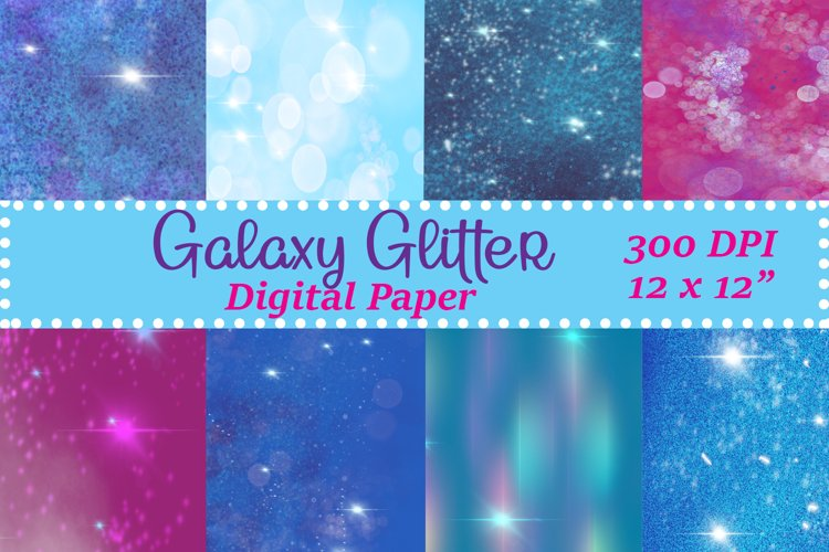 Galaxy Glitter Digital Paper Sublimation PNG