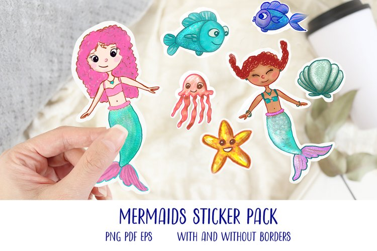 Cute Mermaids and Sea life Sticker pack, PNG PDF EPS