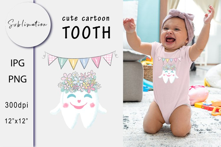 Smile Tooth in a Wreath . Baby Sublimation. Summer PNG