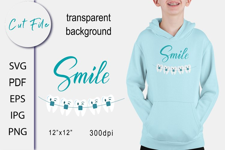 Tooth with braces SVG Cut file. Children Sublimation.