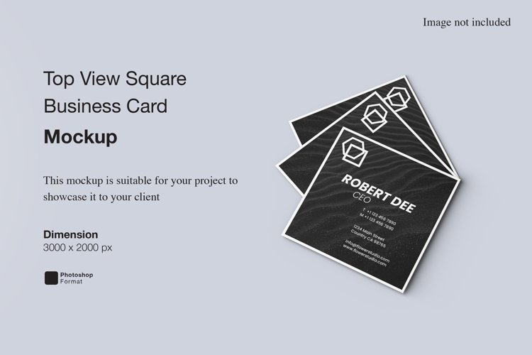 Top View Square Business Card Mockup example image 1