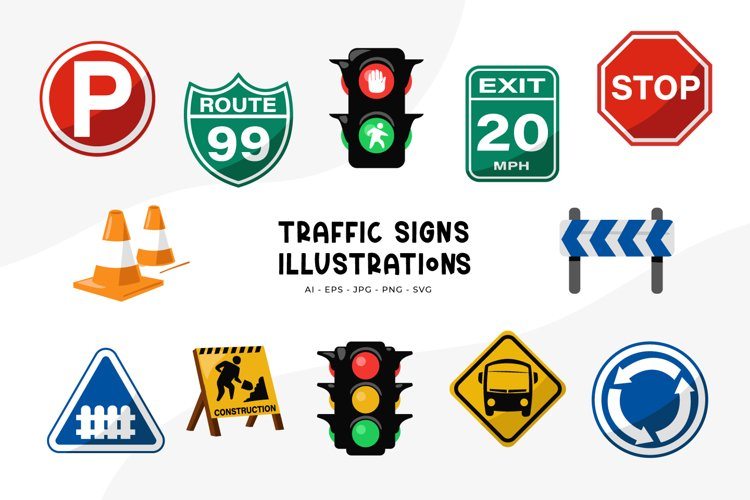 Traffic Signs Illustrations example image 1