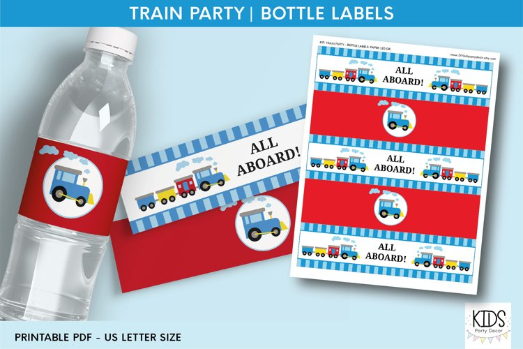 Train party Water Bottle Label, baby boy birthday decor