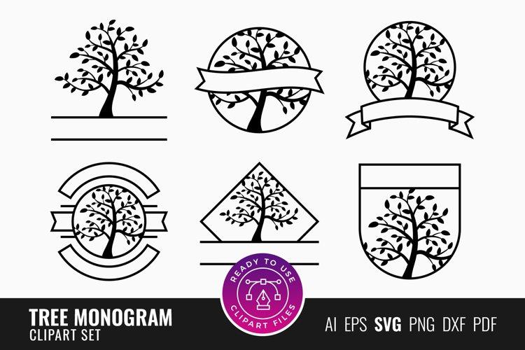 Tree Monogram Clipart Set example image 1