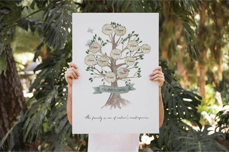 Watercolor Family Genealogical Tree