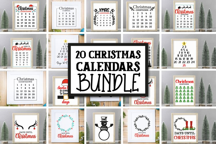 20 Christmas Countdown, Advent Calendar SVGs, Xmas countdown example image 1