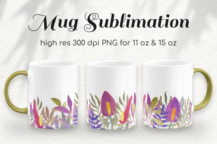 Tropical Watercolor Coffee Mug Sublimation Template 11&15 oz
