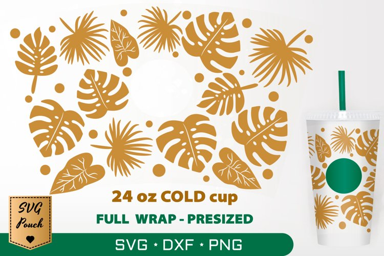 Tropical Palm Leaves cup wrap SVG example image 1