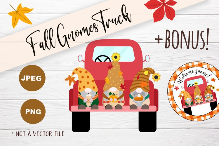 Autumn Gnomes Red Vintage Truck PNG Clipart Fall Gnome