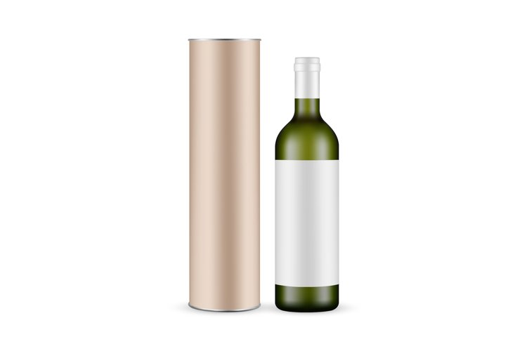Green Glass Wine Bottle With Label and Cardboard Tube example image 1