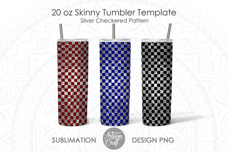 Tumbler designs for sublimation with checkered pattern