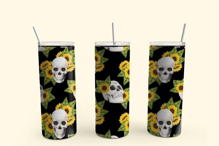 Sunflower and skulls skinny tumbler sublimation