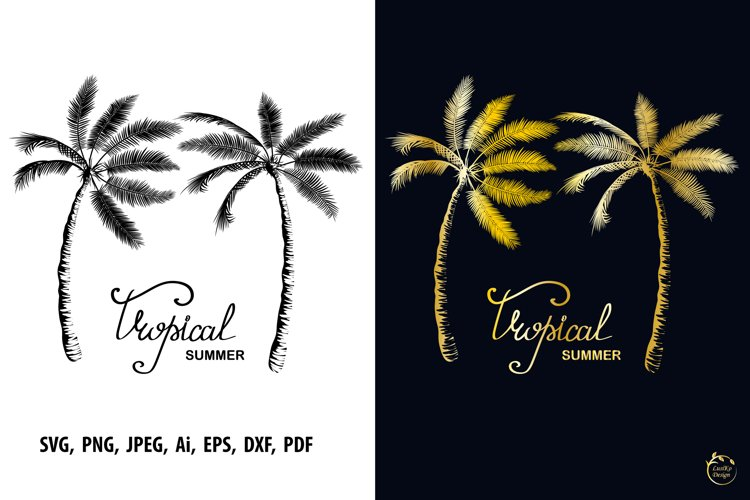 Two palms tree silhouette Tropical summer sublimation design