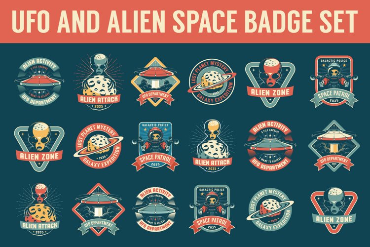 UFO and Alien Space Badge Set