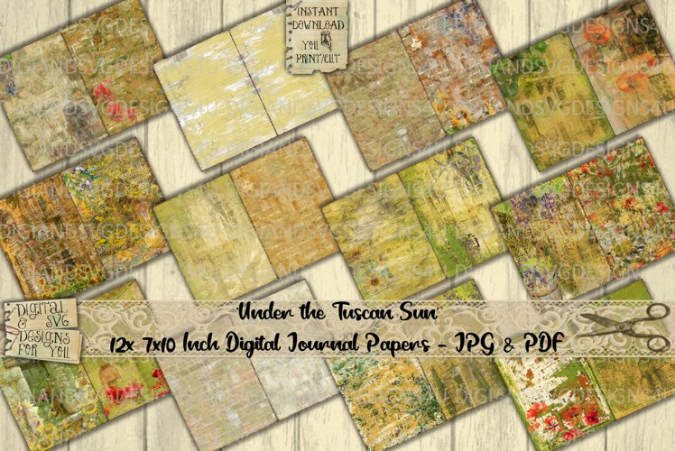 Tuscany Sun   Journal Paper   Poppies   Olive   Printable