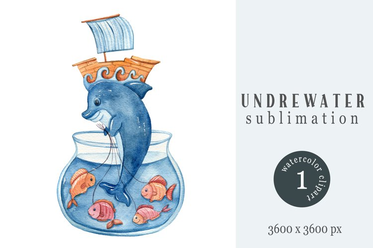 Watercolor nautical nursery clipart / sublimation- 1png file