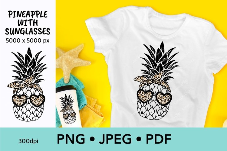 Summer sublimation design Pineapple with sunglasses
