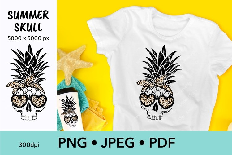 Summer sublimation Skull pineapple with sunglasses