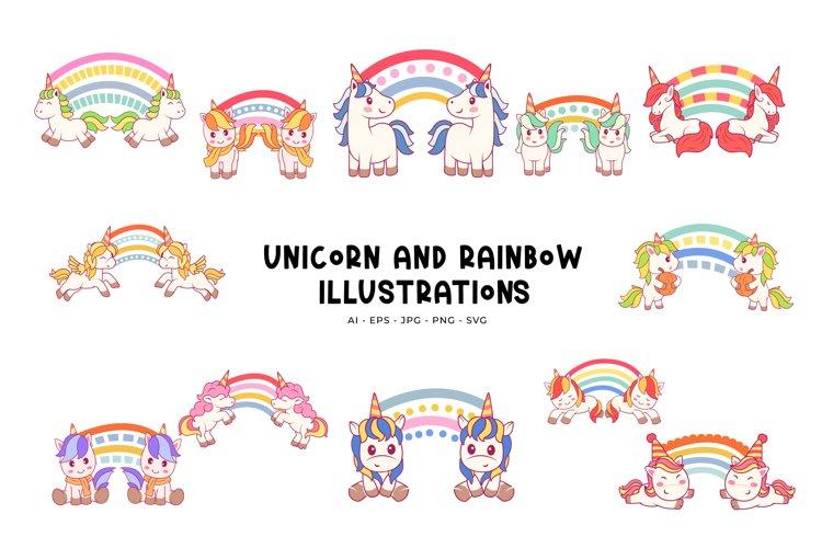 Unicorn And Rainbow Illustrations