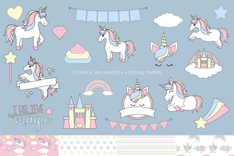 Unicorn clipart & digital paper   Soft colors unicorn png