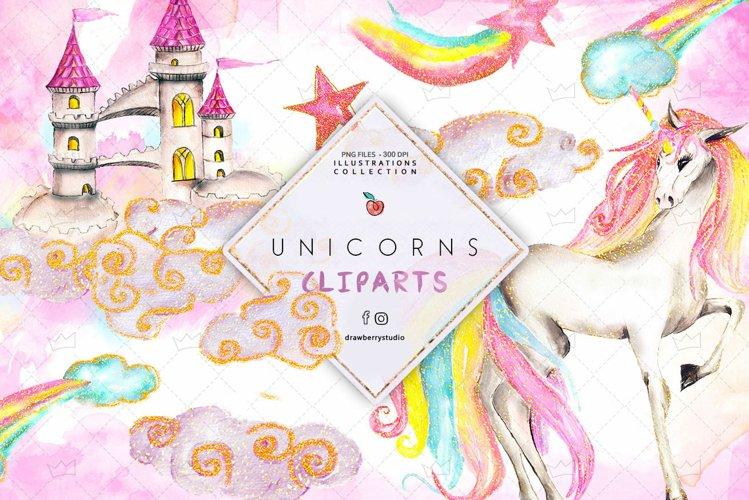 Glam Watercolor Unicorn illustration Clipart Drawberry CP068 example image 1