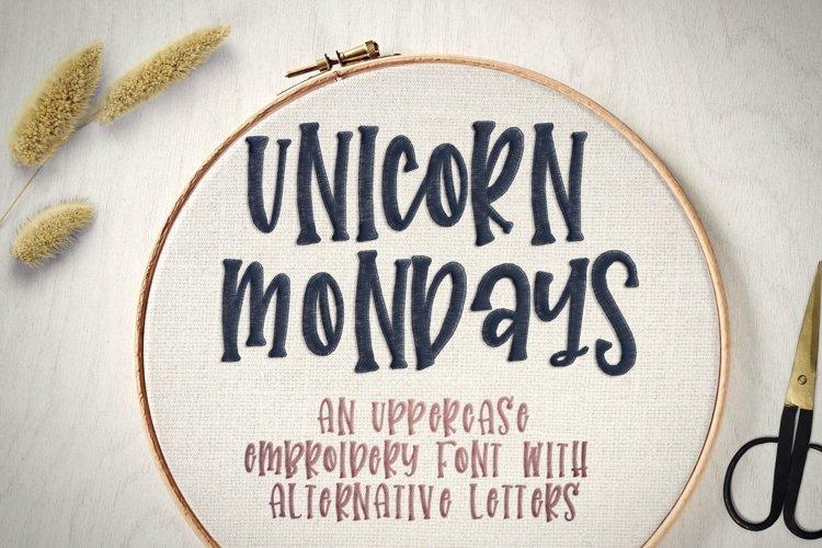 Unicorn Mondays - Embroidery Font example image 1
