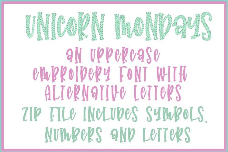 Unicorn Mondays - Embroidery Font