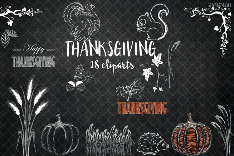Chalkboard Thanksgiving Illustrations - Chalk Cliparts