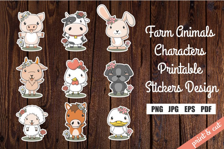 Farm Animals Characters Printable Stickers Design