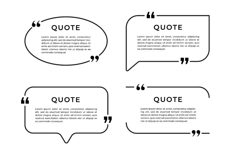 Set of speech bubble template with quote and frame design example image 1