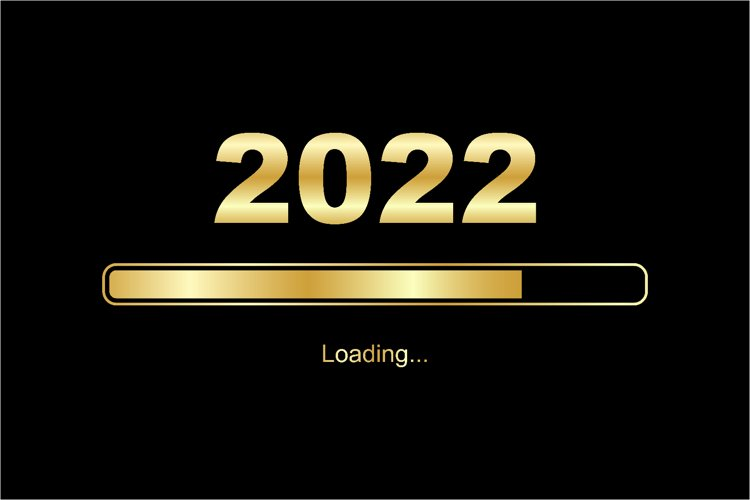 Loading process ahead of new year 2022 with shiny gold color