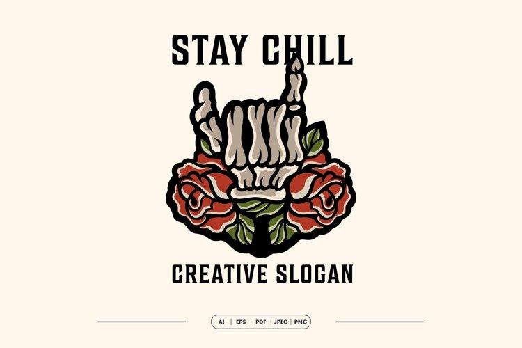 Skull Hand Rose Creative Logo Template