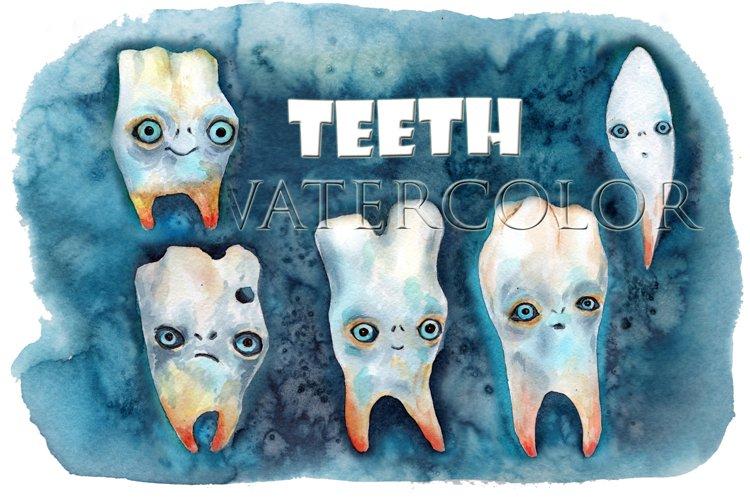 Teeth drawings watercolors