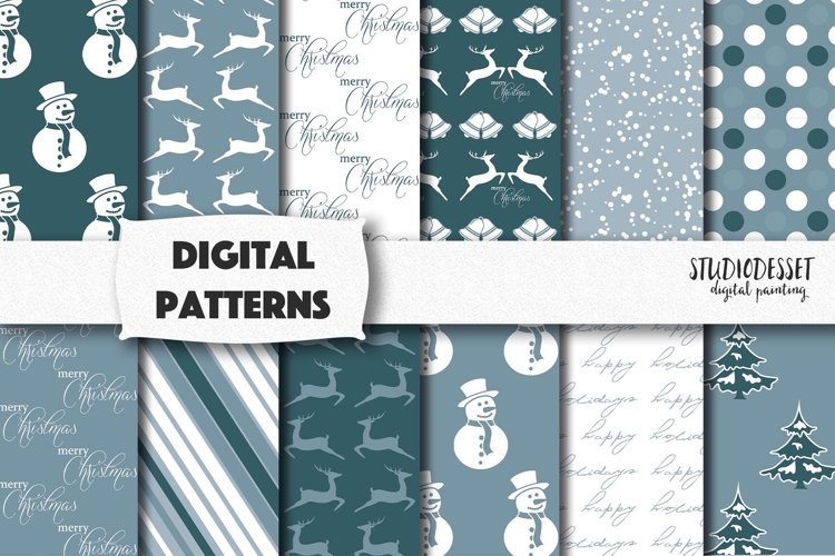 Blue Christmas Patterns   Winter Digital Papers
