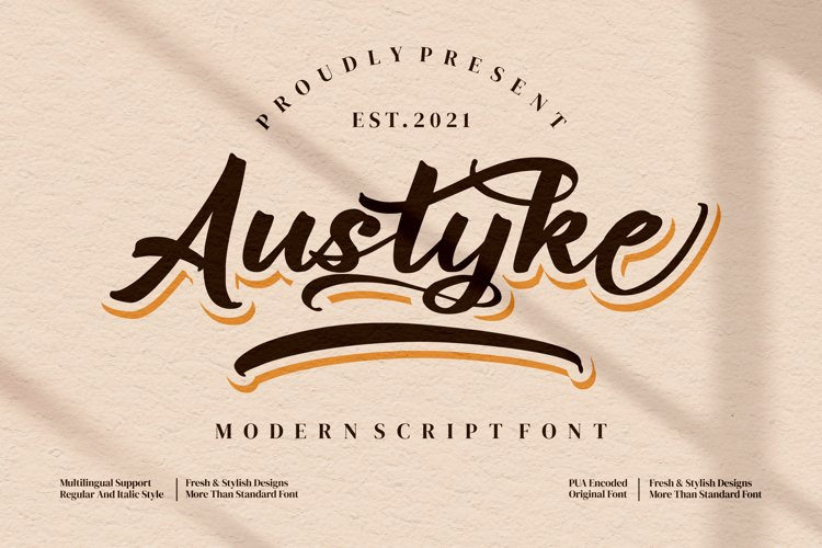 Austyke - Modern Script Font example image 1