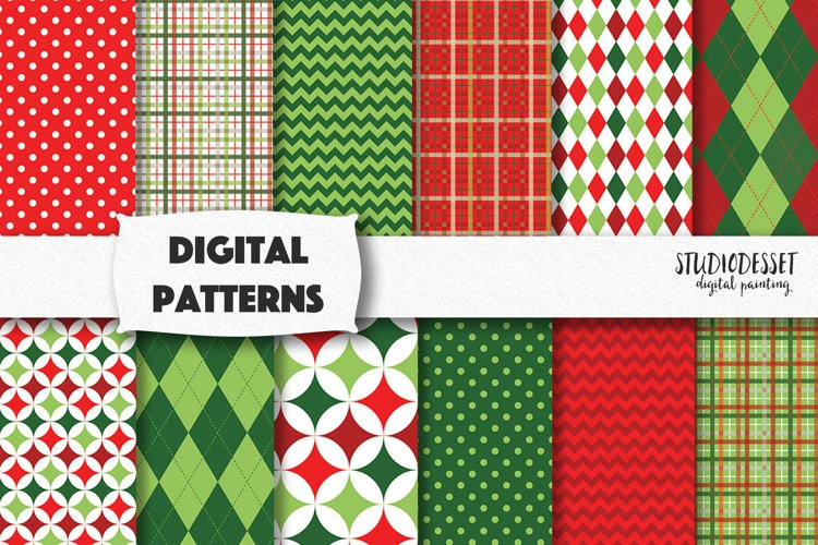 Christmas Patterns in Red and Green   Christmas Plaid