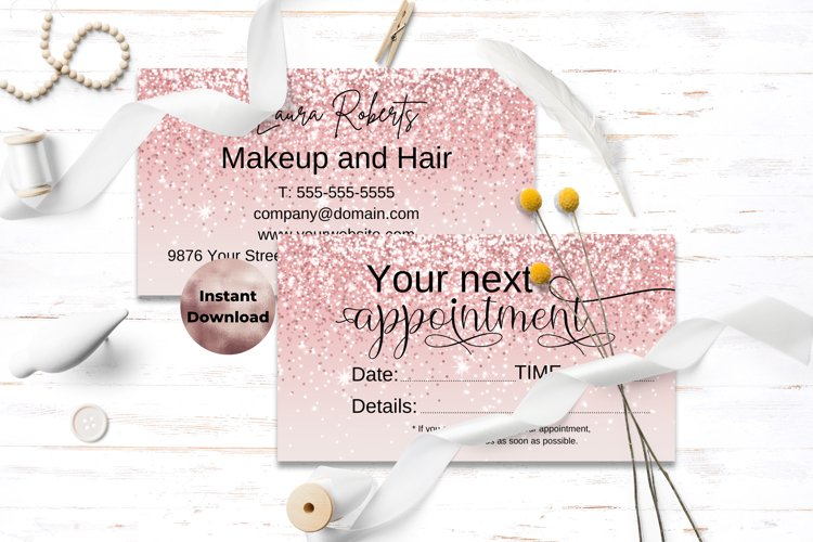 Pink Glitter Appointment Card
