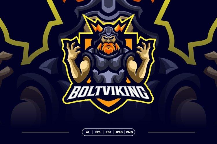 Bolt Viking Awesome Mascot Logo Template example image 1